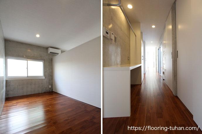 部屋、廊下(通路)全ての床にチーク材を使用