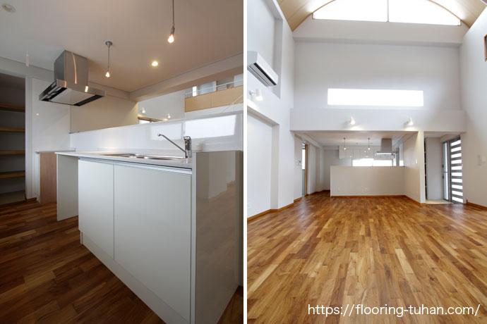 キッチンなどの水回りには、耐久性・耐水性に優れたチーク材を使用(チーク無垢フローリング)