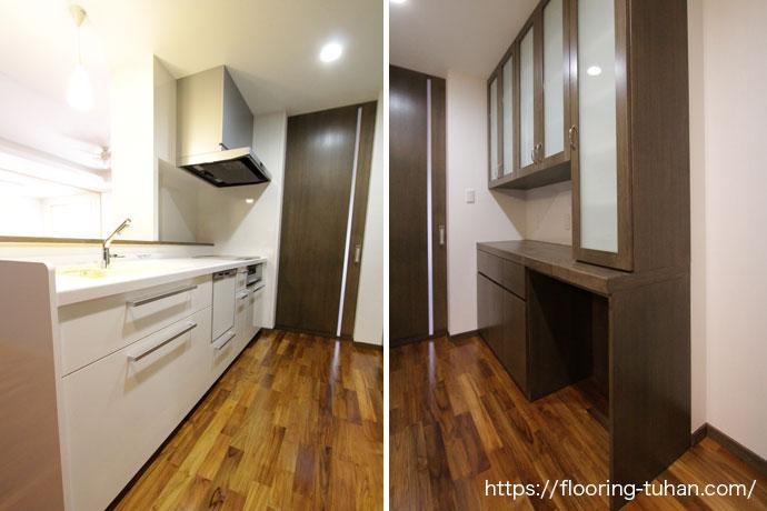 水を使用する回数が多いキッチン周りには、耐水性にも優れたチークフローリングを使用