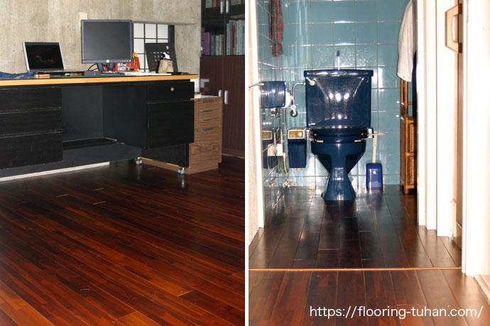 書斎や廊下の床のリフォームに、チークフローリング(着色・ブラウン)を採用