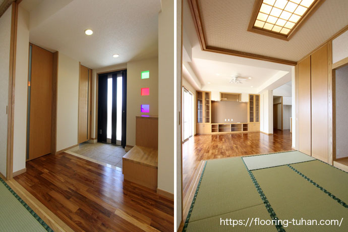 廊下からリビングまでをチーク材1種類で仕上げ(玄関床/廊下/リビング/チーク無垢材)