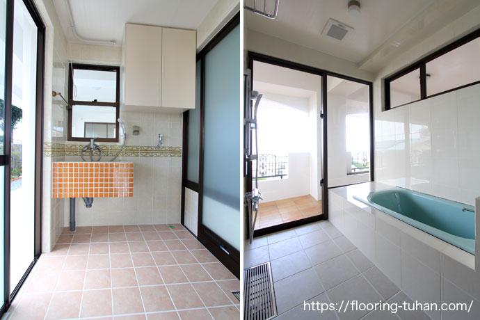 広々とした脱衣所とお風呂場(チーク材/チークフローリング/無垢床サンプル/チークサンプル)