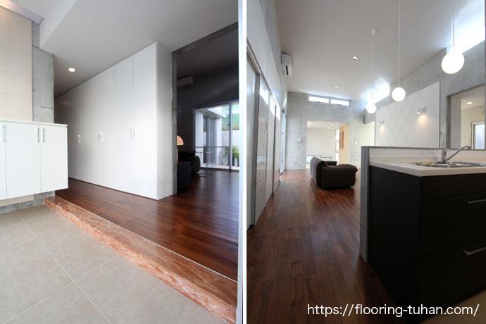 コンクリート打ちっぱなしの壁に映えるチークの床材