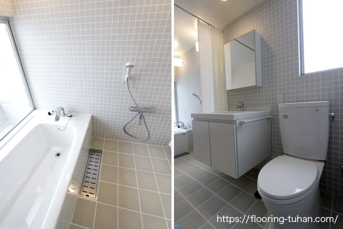 清潔感あふれる白で統一されたバス・トイレ(チーク材)