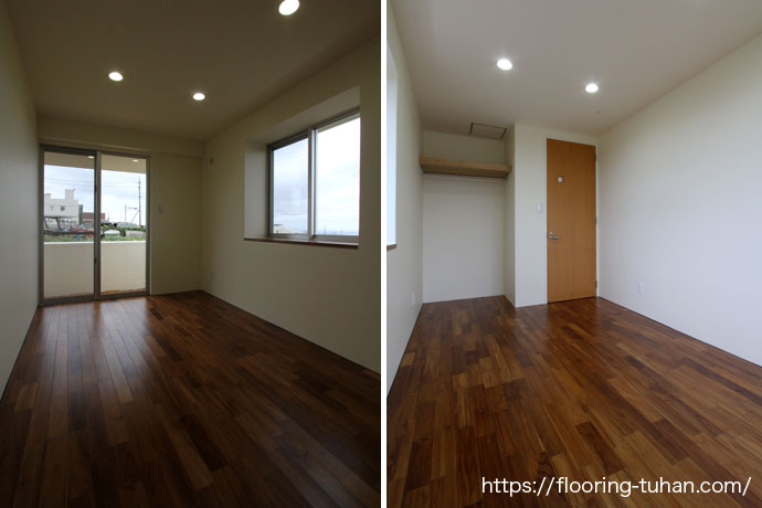 戸建住宅の部屋の床に、無垢のチーク材を使用