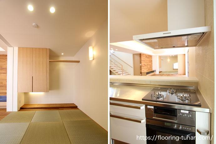 チーク材との相性も良い畳間とキッチン(2階戸建住宅)