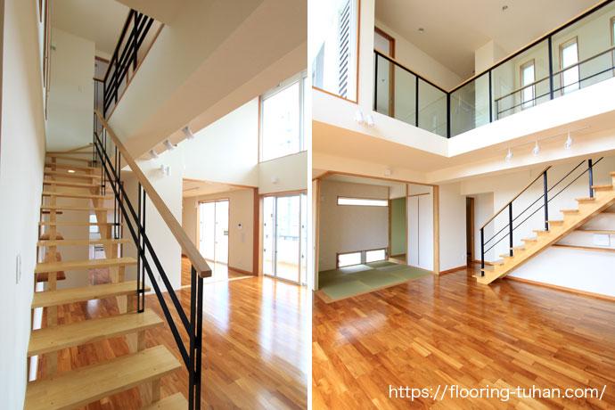 フローリングと畳間が隣接しているリビングダイニング(居間/スペース)