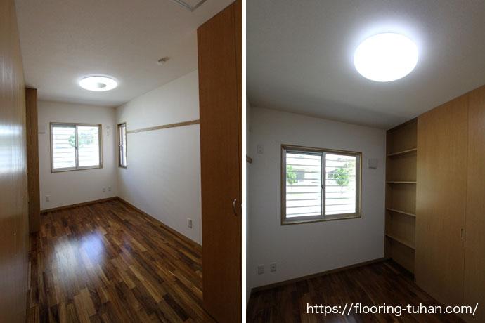 チークフローリングを寝室・子供部屋、各部屋に使用したお宅(チーク材/チーク無垢フローリング/寝室・子供部屋)