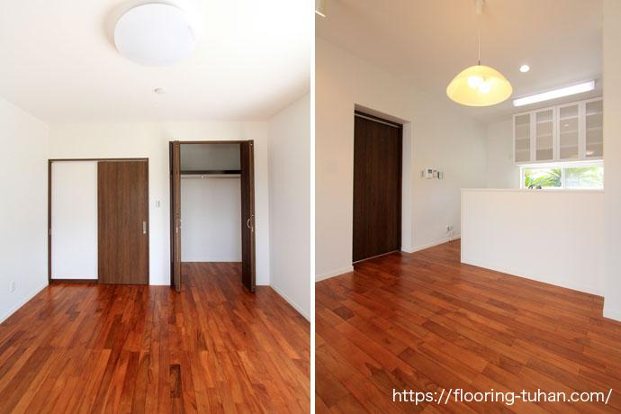 白を基調とし、床を高級チーク材に仕上げた店舗兼2階建住宅