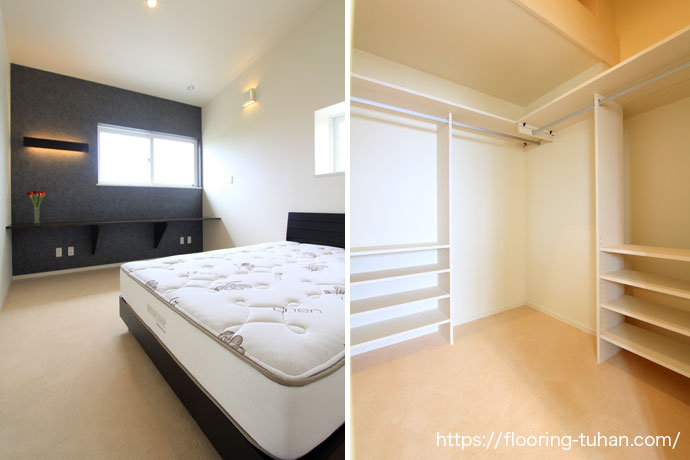 白でまとめられた落ち着きのある寝室(チーク無垢フローリング)