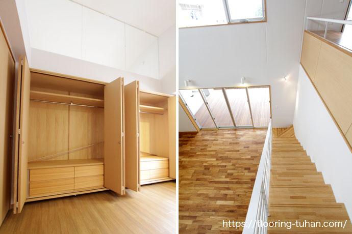 チーク材をふんだんに使用した2階部屋と階段(チーク無垢フローリング)