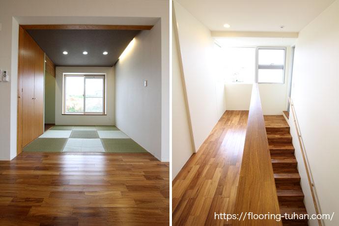 階段部分にはチークの集成板を使用し、家全体でチーク材と統一