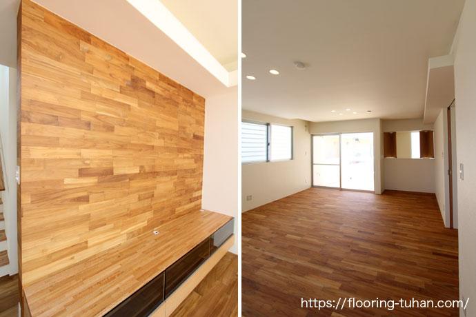 壁にチーク材を使用、2階には75巾のチーク材で床仕上げ