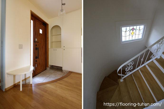 エントランスが広くて美しい(カバ桜無垢フローリング/床材 カバ桜/無垢床/白系統フローリング)