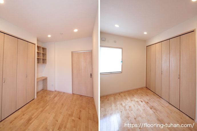カバ桜材の白が光を反射して電気をつけなくても明るい部屋(カバ桜無垢床)