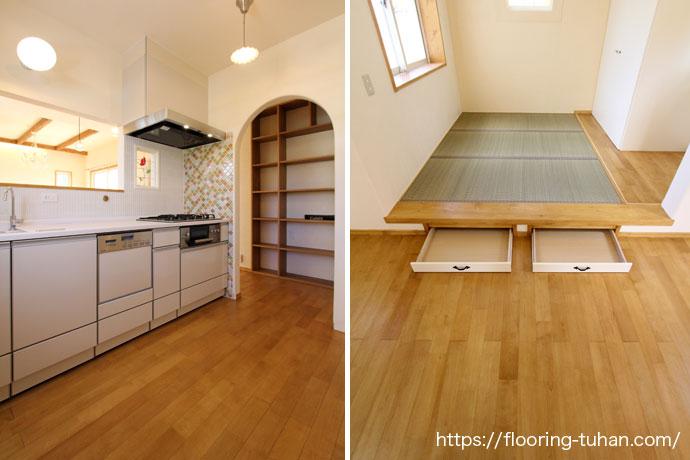 キッチンもパステルカラーでお部屋とマッチした優しい雰囲気(カバ桜無垢フローリング/床材 カバ桜/無垢床/白系統フローリング)