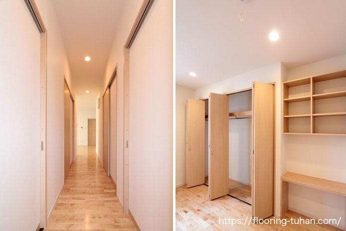 明るい清潔感のある廊下(カバ桜無垢床材)