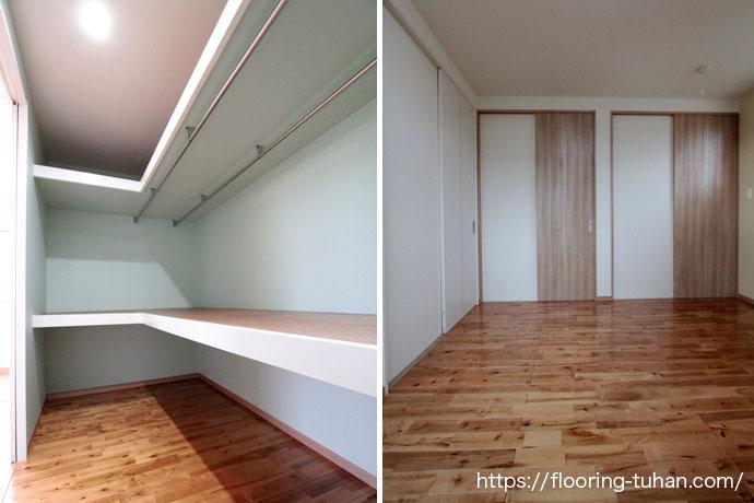 大容量のクローゼットと温かみのあるお部屋(カバ桜無垢フローリング)