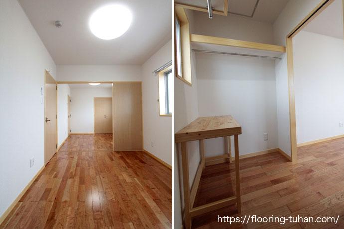少し赤みがかったナチュラルのチェリーフローリング材をアパートの床材として使用