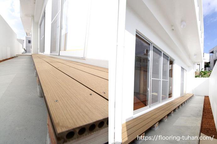 Gウッドデッキ材(WPC/合成木材)を戸建住宅のベランダへ設置