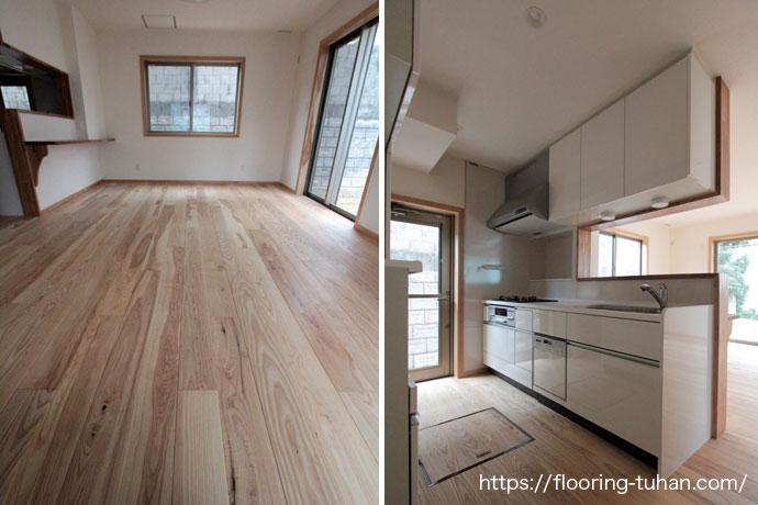 無塗装品のホワイトアッシュ材を使用したキッチンルーム
