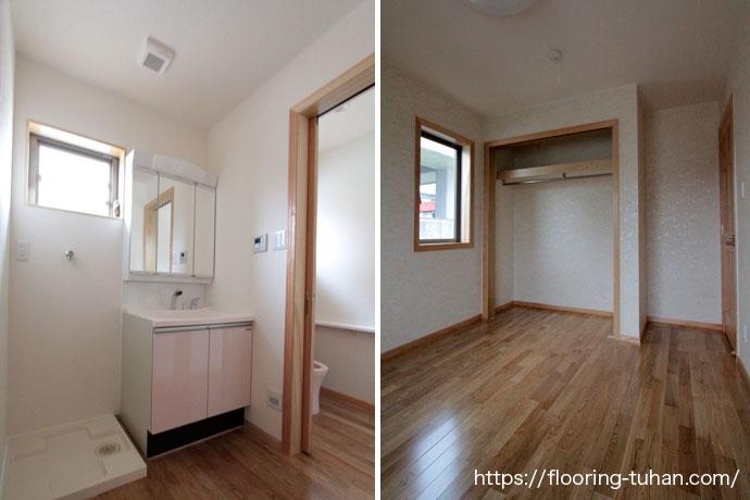 自然塗装仕上げがされたホワイトアッシュフローリングを脱衣所と各部屋の床材として採用