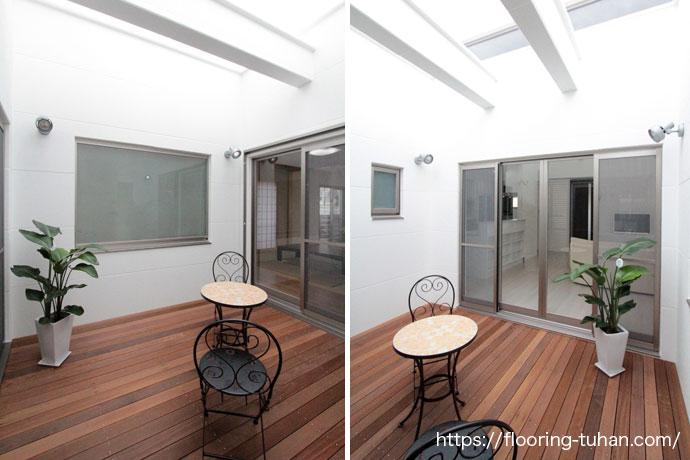 中庭に、耐久性・耐水性に強いセランガンバツウッドデッキ材を使用した2世帯住宅