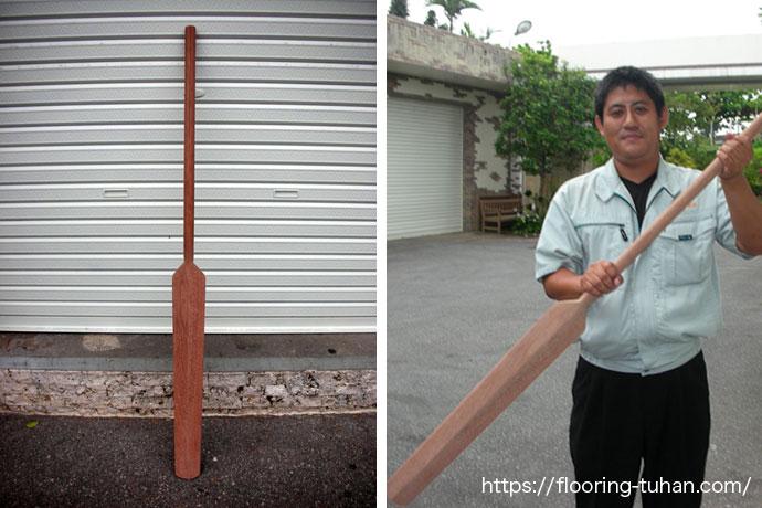 セランガンバツ・ウッドデッキ材でハーリー用のオールを作成!