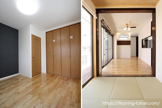 畳間とカバ桜フローリングの部屋