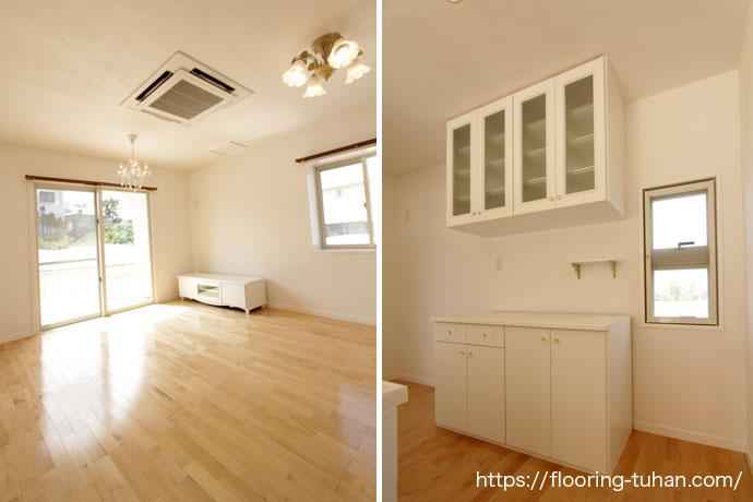 広々とした空間のリビングダイニングにカバ桜材を使用(カバ桜無垢フローリング/床材 カバ桜/無垢床/白系統フローリング)