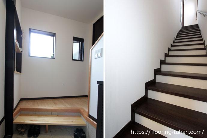 カバ桜(サクラ)フローリング/玄関/階段