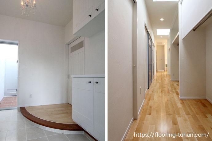 白色の無垢フローリングを使用した玄関、廊下