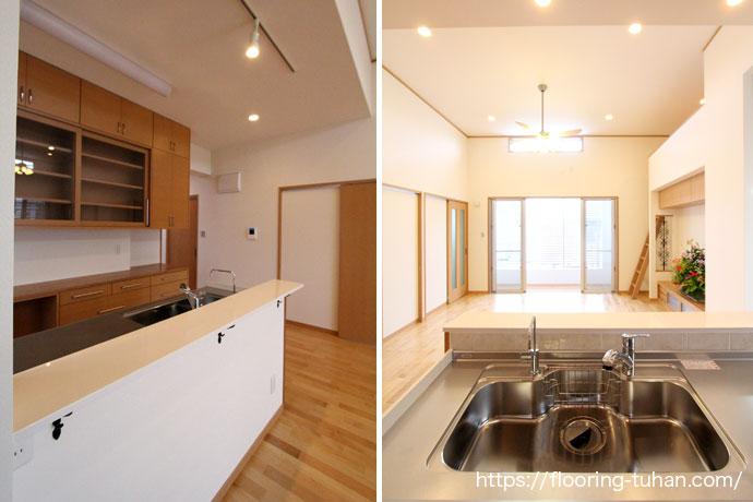 白フローリングとマッチした清潔感あるキッチン