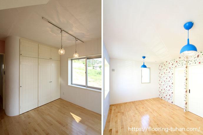 樺桜、無垢の床を使用した部屋