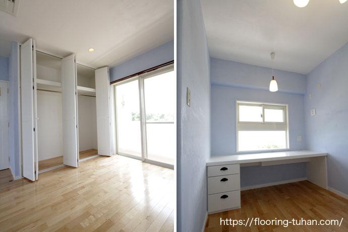青壁とのコントラストが印象的な2階部屋(カバ桜無垢フローリング/床材 カバ桜/無垢床/白系統フローリング)