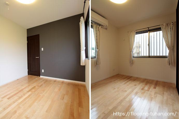 カバ桜無垢フローリングを使用した寝室(部屋)