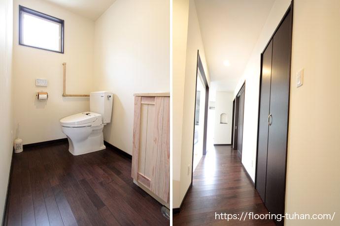トイレ/廊下に無垢フローリングを使用したお家