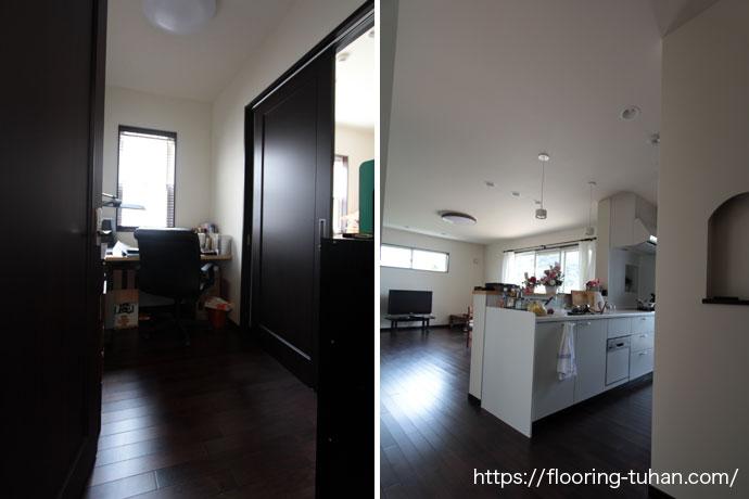 書斎/キッチン/玄関にアジアンウォールナットフローリングを使用