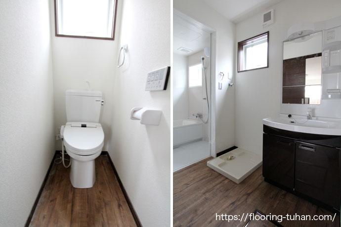耐水・耐久性のあるPVCフローリング(デコクリック)を脱衣所などの水回りに使用した賃貸住宅