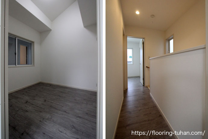 傷などに強いPVCフローリング(デコクリック)を部屋や人通りの多い廊下に使用した賃貸住宅