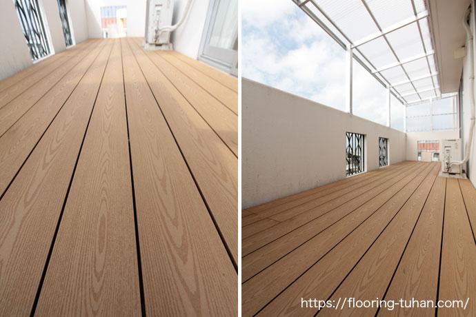 木と廃プラスティックの合成で作られた合成木のデッキ材を使用した、ベランダデッキ材
