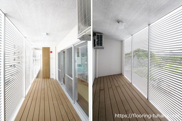 合成木でできたGウッドデッキ材を、住宅のテラス部分で使用。(チークカラー)