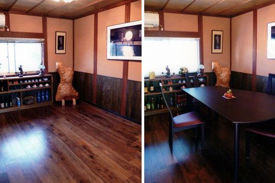 個室の床材としてブラックウォールナット複合フローリングを使用2