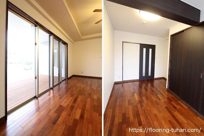 メルバオ材使用で落ち着いた空間に仕上がった部屋