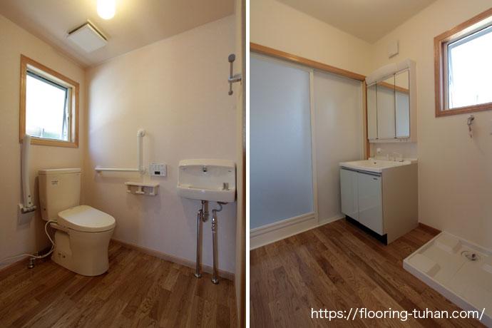 トイレ/脱衣所 無垢材フローリング