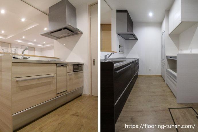 PVCフローリング(デコクリック)を使用した二世帯住宅のキッチン。見比べると同じ床材でも全く雰囲気が異なります。