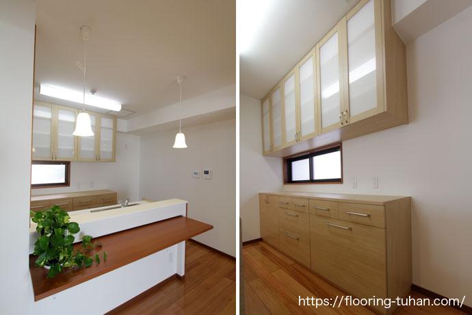 赤松無垢フローリングをキッチン周りに使用し明るい雰囲気を作り出したお家