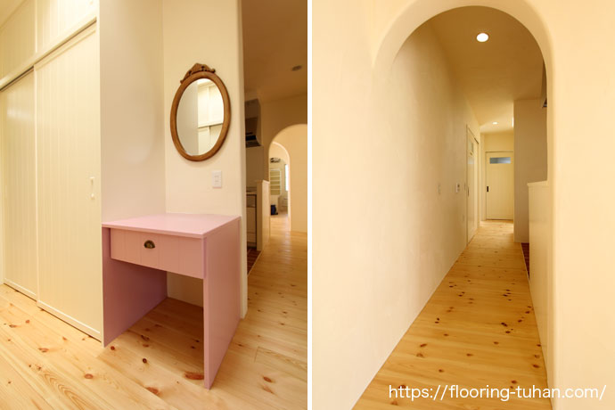 パイン(赤松)材の木目や節がキレイに表現された家の廊下(パイン材/フローリング/無垢床材)