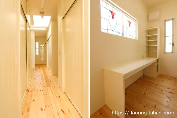 漆喰壁、パイン材、白色で統一された廊下(パイン材/赤松フローリング/漆喰壁の家)
