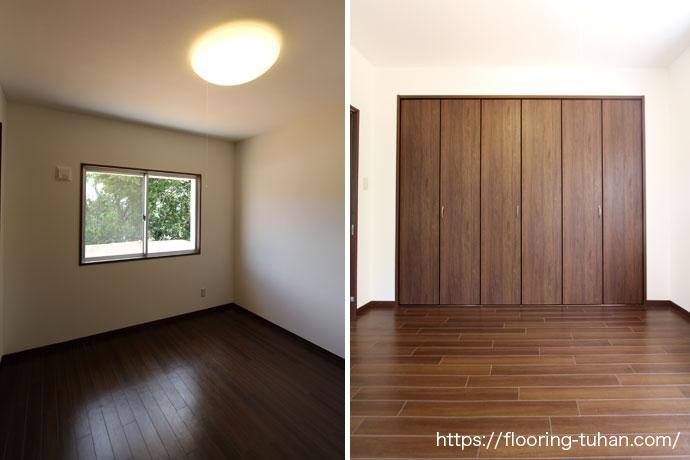 無垢フローリングを使用した寝室(子供部屋)
